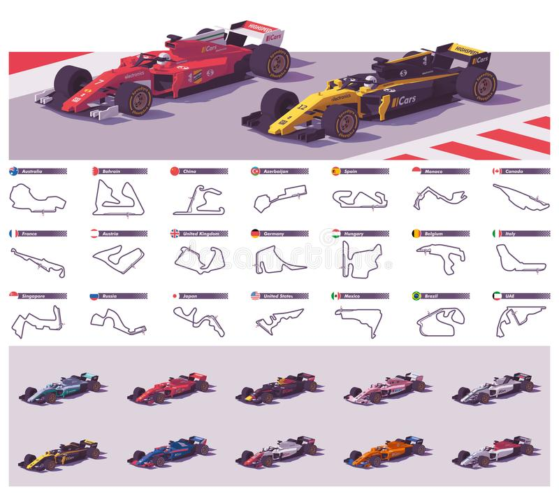 Vector racing tracks and cars royalty free illustration