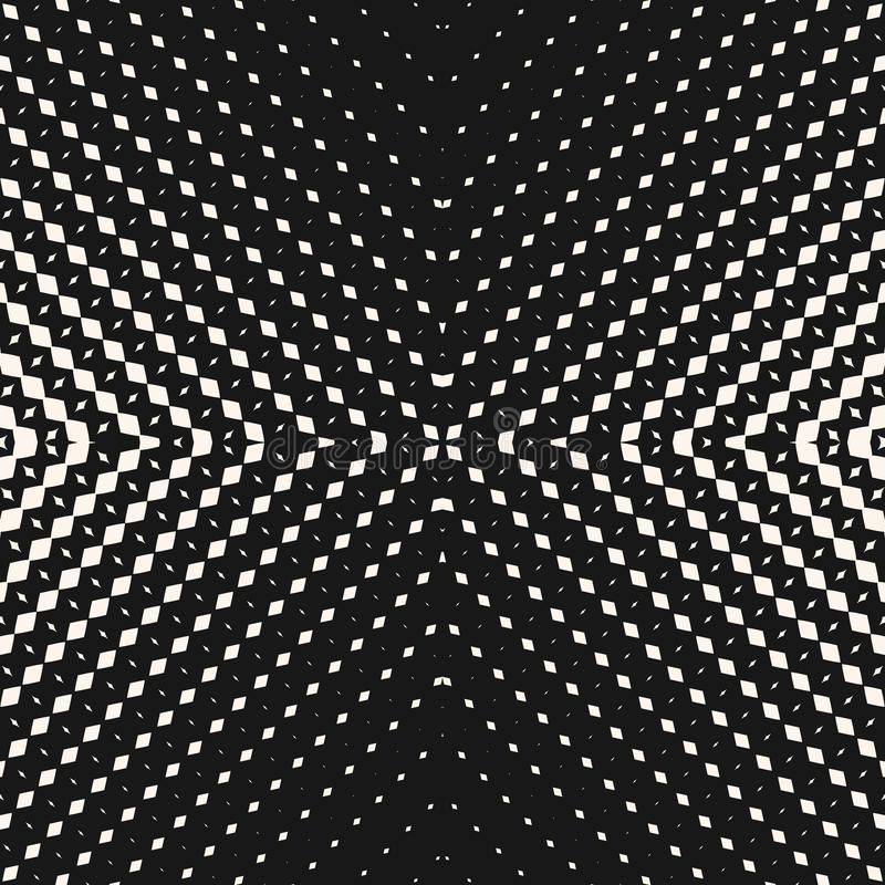 Vector radial halftone seamless pattern. Black and white geometric background stock illustration