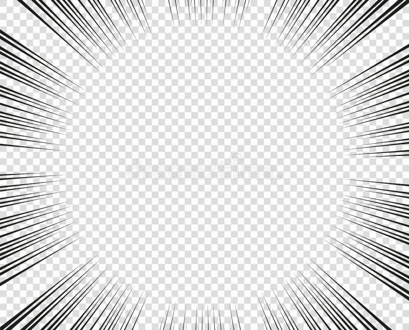 Vector radiale lijnen Concept snelheid, beweging, zwarte kleur Manga van ontwerpelementen, beeldverhaal, strippagina Geïsoleerde  royalty-vrije illustratie