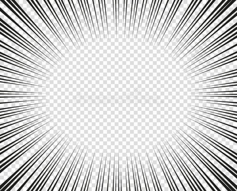 Vector radiale lijnen Concept snelheid, beweging, zwarte kleur Manga van ontwerpelementen, beeldverhaal, strippagina Geïsoleerde  stock illustratie