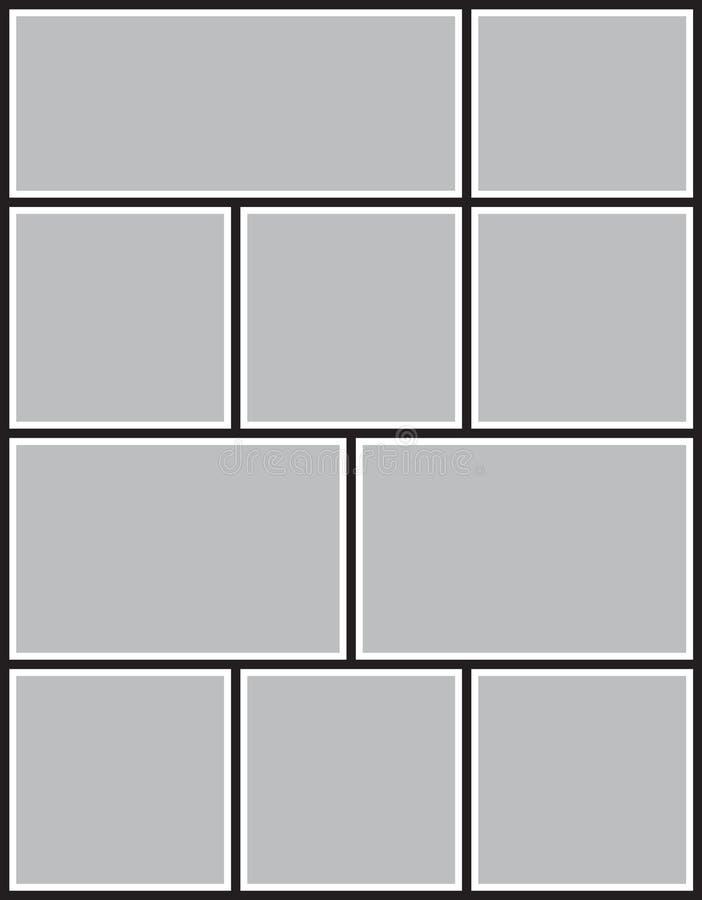 Vector Rahmen für Fotos und Bilder, Fotocollage, Fotopuzzlespiel stockbilder
