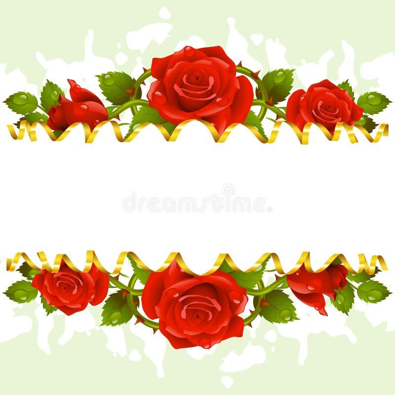 Vector Rahmen whith rote Rosen und goldenes Band lizenzfreie abbildung