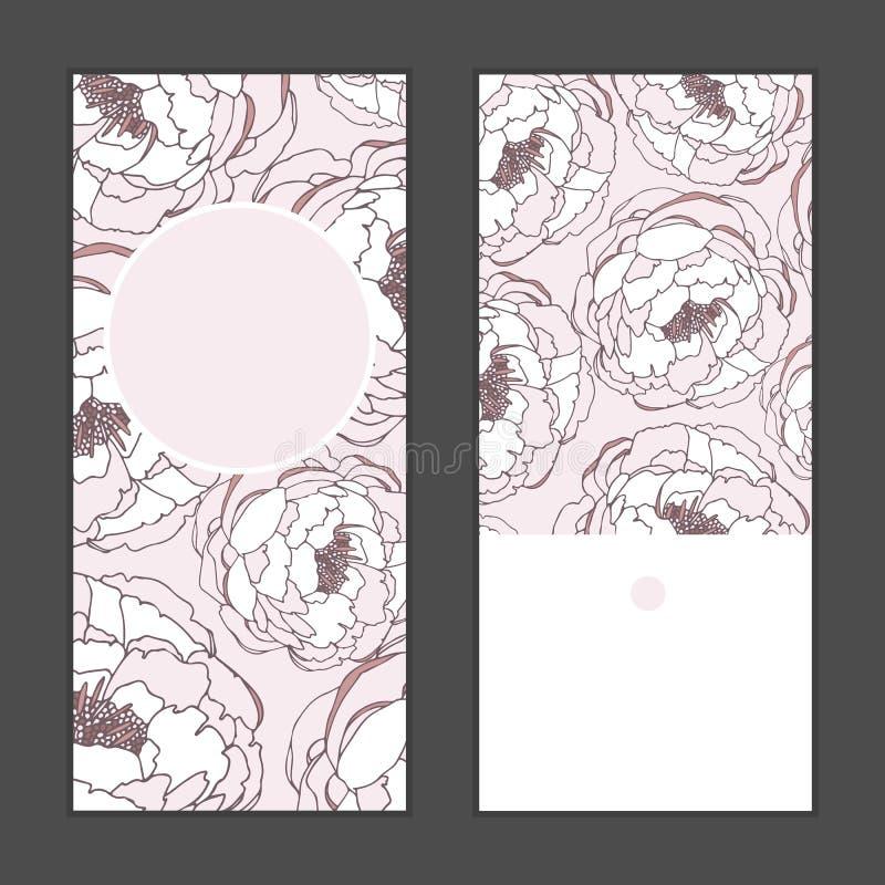 Vector Rahmenmustereinladungsgruß-Kartensatz der Pfingstrosenblumen vertikalen runden für die Heirat, die Heirat, Braut, Geburtst lizenzfreie abbildung