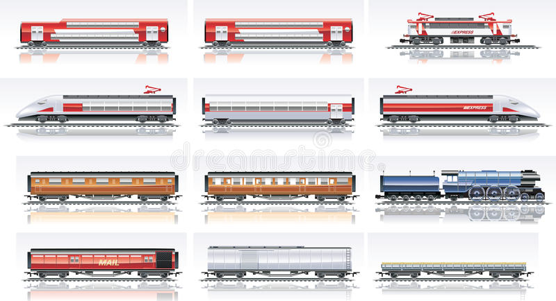 Vector railroad transportation icon set vector illustration