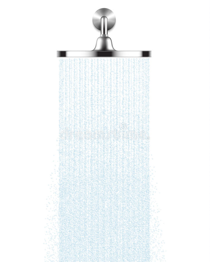 Vector Rain Shower head with water drops flowing isolated over a white background stock illustration