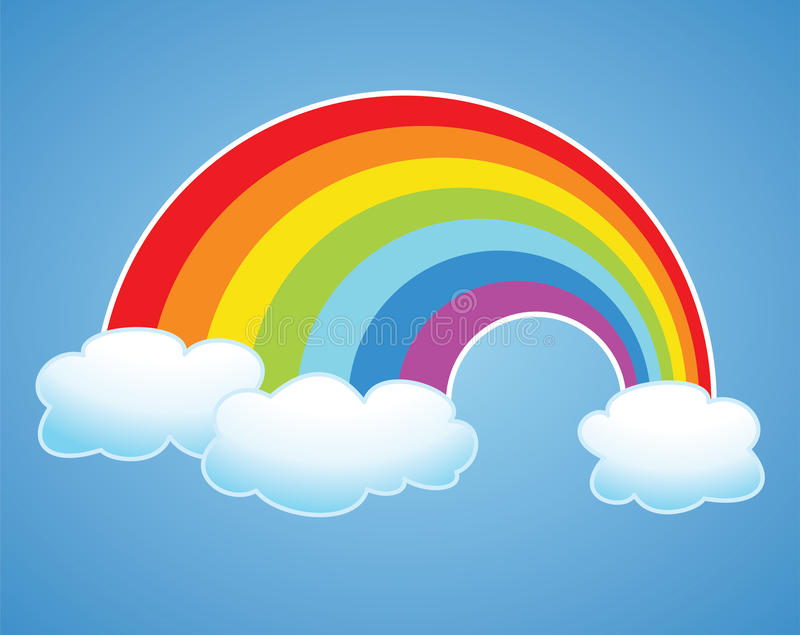 vector rainbow and clouds in the sky royalty free illustration