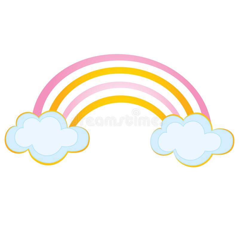 Vector Rainbow with Clouds royalty free illustration