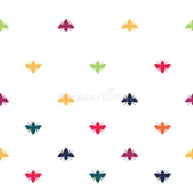 Vector Rainbow Colored Bees Shapes on White seamless pattern background. vector illustration