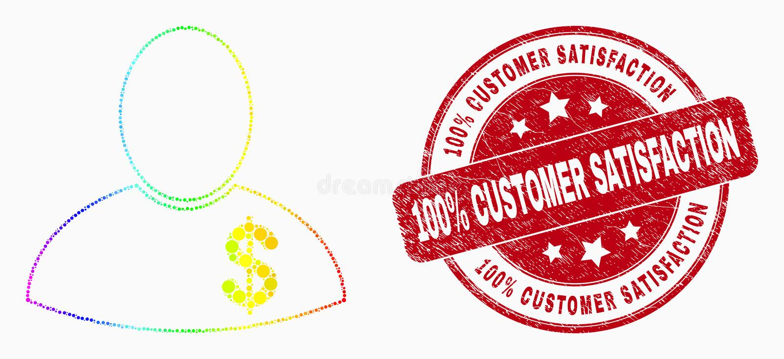 Vector Rainbow Colored Dot Banker Icon and Scratched 100 Percent Customer Satisfaction Seal vector illustration