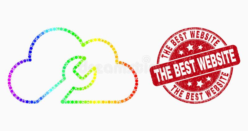 Vector Rainbow Colored Dot Cloud Wrench Icon and Scratched The Best Website Stamp vector illustration