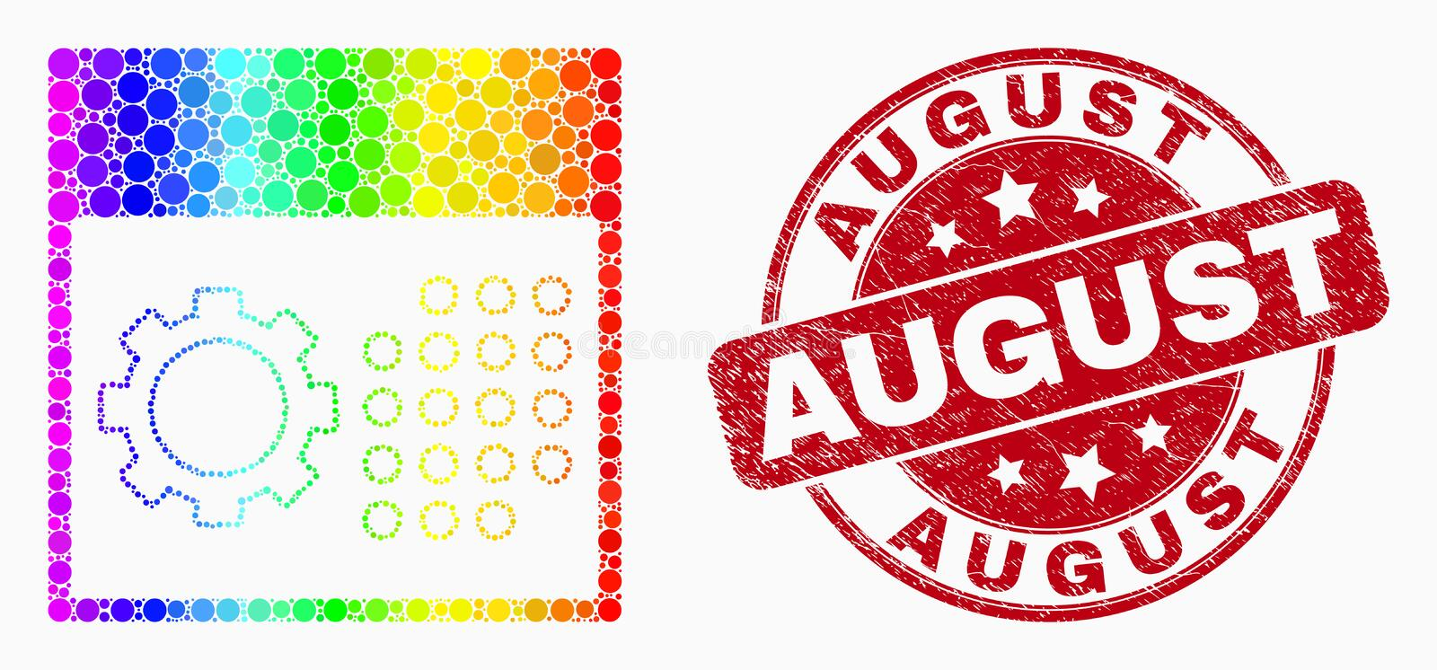 Vector Rainbow Colored Dotted Calendar Settings Icon and Scratched August Seal vector illustration
