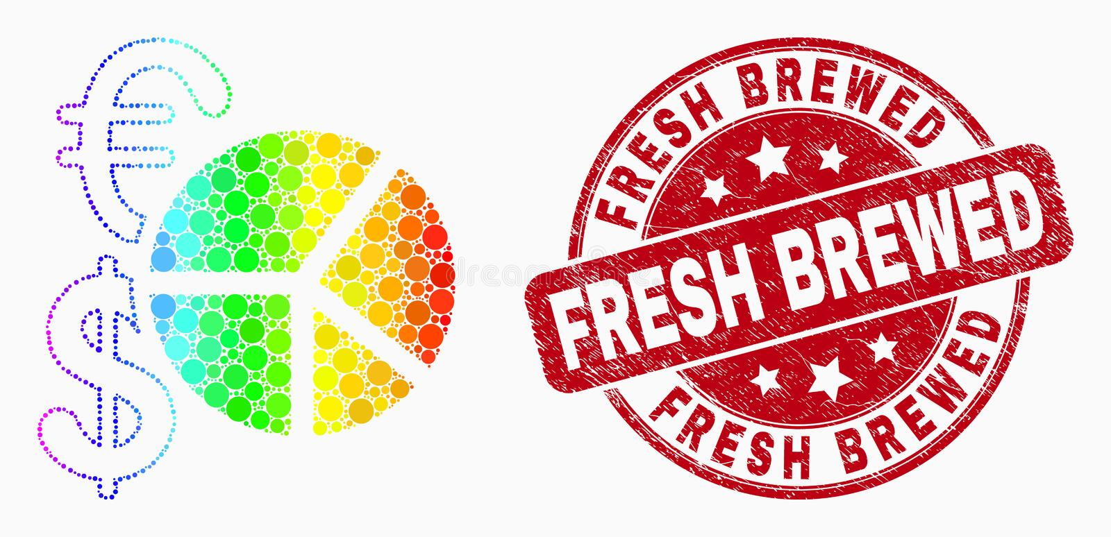 Vector Rainbow Colored Dotted Currency Pie Chart Icon and Grunge Fresh Brewed Seal. Pixel rainbow gradiented currency pie chart mosaic pictogram and Fresh Brewed vector illustration