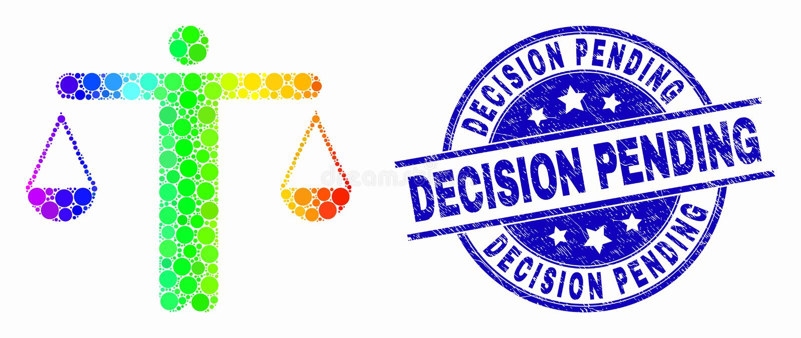 Vector Rainbow Colored Dotted Judge Icon and Grunge Decision Pending Watermark. Dotted spectral judge mosaic icon and Decision Pending seal stamp. Blue vector stock illustration