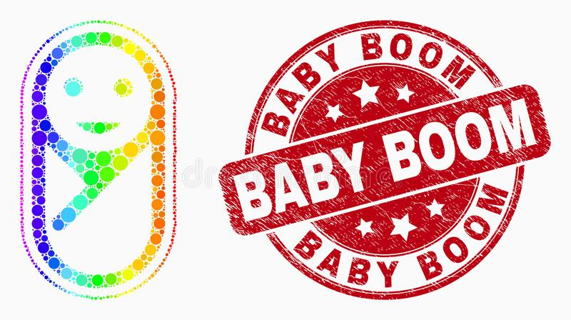 Vector Rainbow Colored Dotted New Born Icon and Distress Baby Boom Seal royalty free illustration