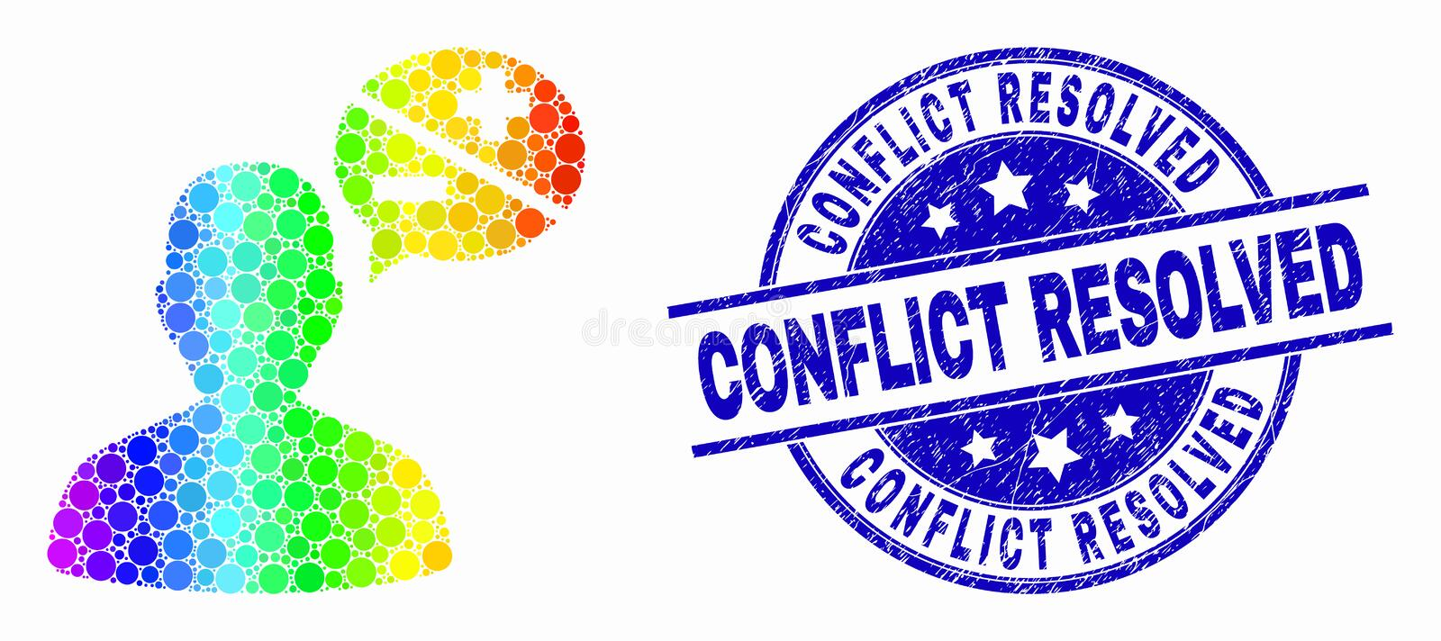 Vector Rainbow Colored Dotted Person Arguments Icon and Grunge Conflict Resolved Stamp Seal. Pixelated rainbow gradiented person arguments mosaic pictogram and royalty free illustration