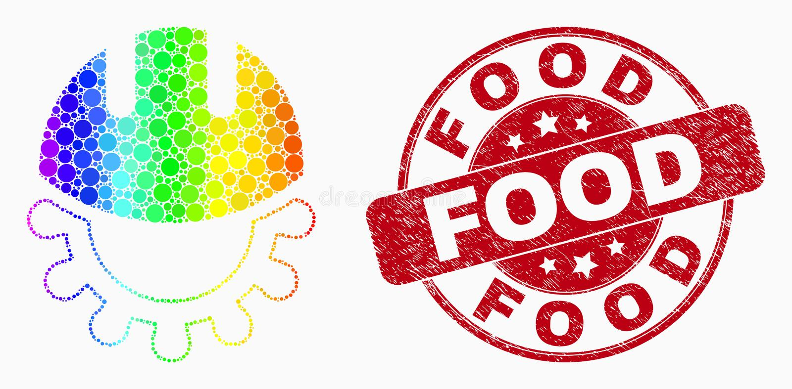 Vector Rainbow Colored Pixel Development Helmet Icon and Grunge Food Stamp Seal stock illustration
