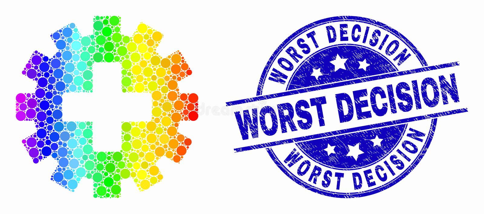 Vector Rainbow Colored Pixel Plus Gear Icon and Grunge Worst Decision Seal. Dot bright spectral plus gear mosaic pictogram and Worst Decision seal stamp. Blue vector illustration