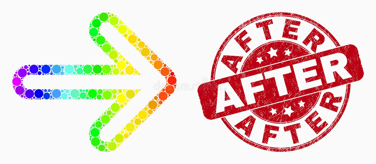 Vector Rainbow Colored Pixel Right Direction Arrow Icon and Scratched After Watermark royalty free illustration