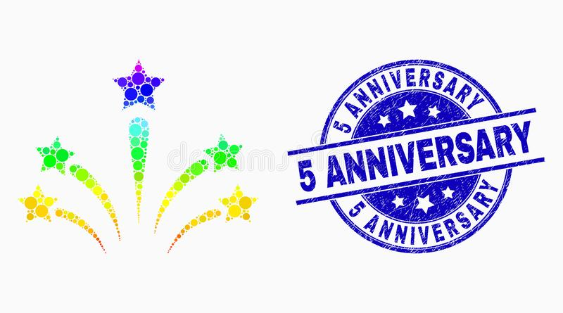 Vector Rainbow Colored Pixel Salute Star Fireworks Icon and Grunge 5 Anniversary Stamp Seal. Pixelated bright spectral salute star fireworks mosaic icon and 5 vector illustration