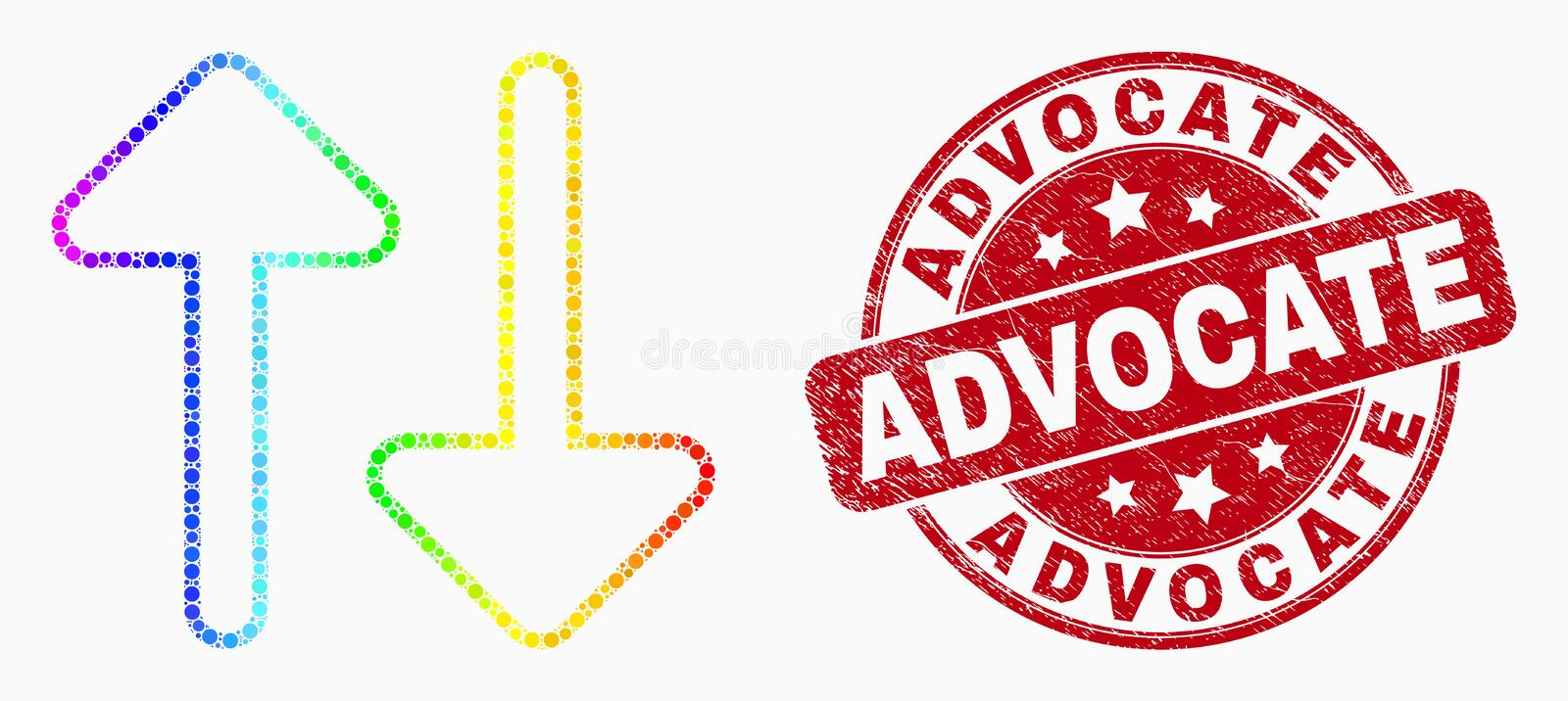 Vector Rainbow Colored Pixel Vertical Exchange Arrows Icon and Distress Advocate Seal. Dotted bright spectral vertical exchange arrows mosaic icon and Advocate royalty free illustration