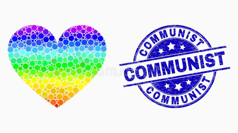 Vector Rainbow Colored Pixelated Love Heart Icon and Distress Communist Stamp Seal. Pixelated rainbow gradiented love heart mosaic icon and Communist stamp. Blue stock illustration