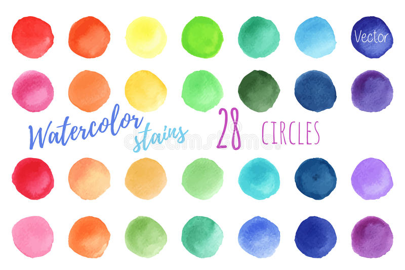 Vector rainbow colors watercolor paint stains vector illustration