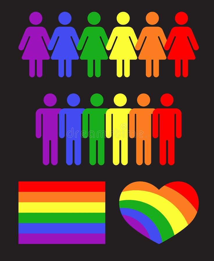 Vector rainbow gay LGBT rights icons and symbols black vector illustration