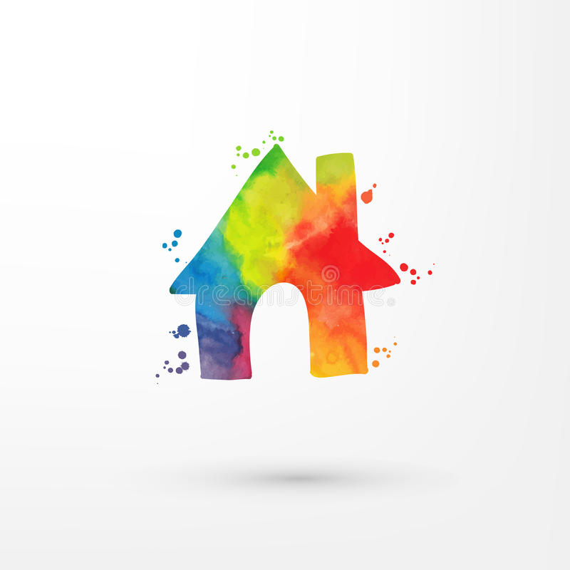 Vector rainbow grungy watercolor home icon inside circle with paint stains and blots, painting of house. Vector rainbow grungy watercolor home icon inside stock illustration