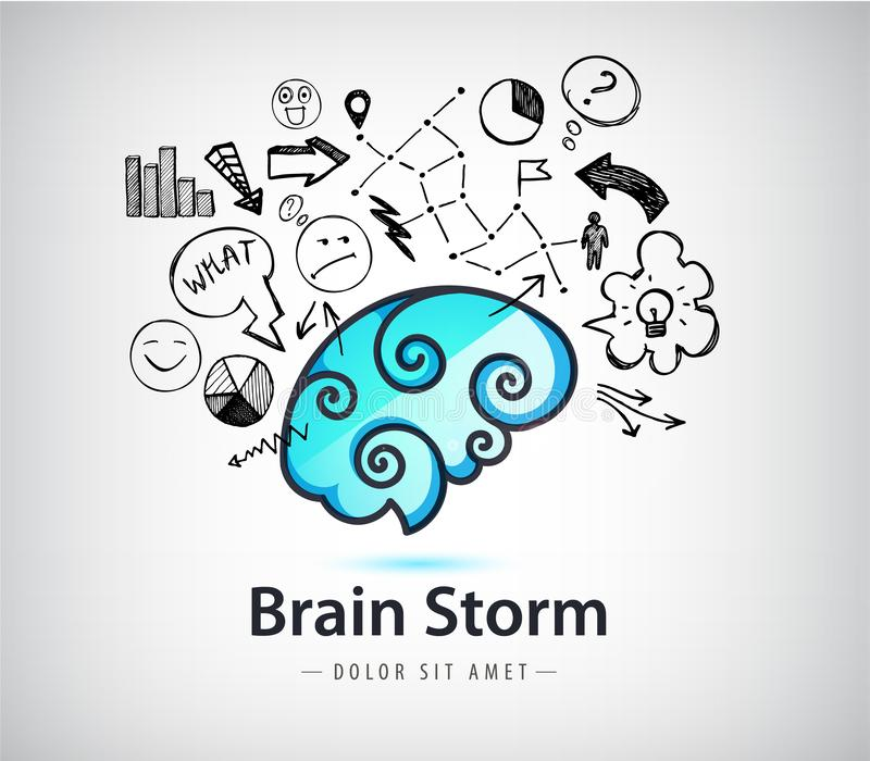 Vector rainstorming creative idea logo, brain icon with doodle hand drawn charts, faces, arrows. Innovation and solution stock illustration