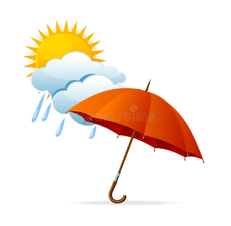 Vector rainy weather icon. With clouds and umbrella and sun royalty free illustration
