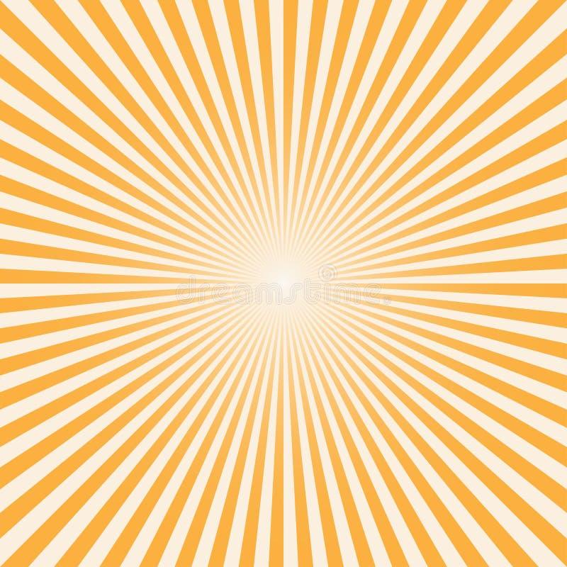 Vector raios do sol do fundo com cor branca e alaranjada ilustração stock