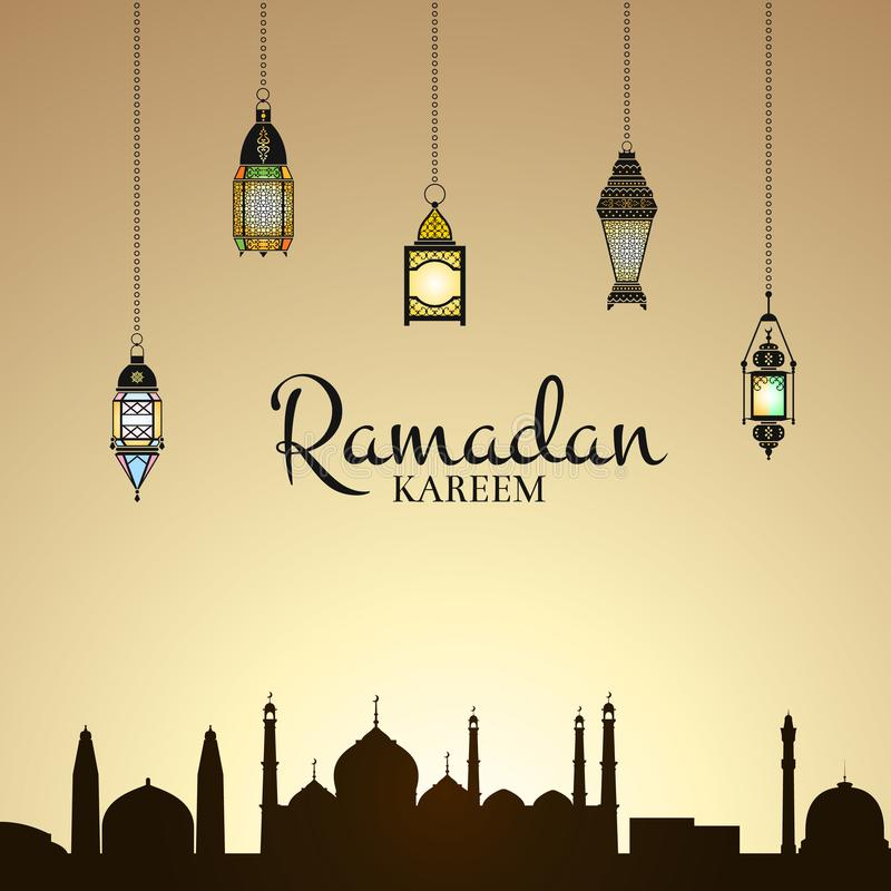 Vector Ramadan illustration with lanterns and arabic city silhouette royalty free stock photo