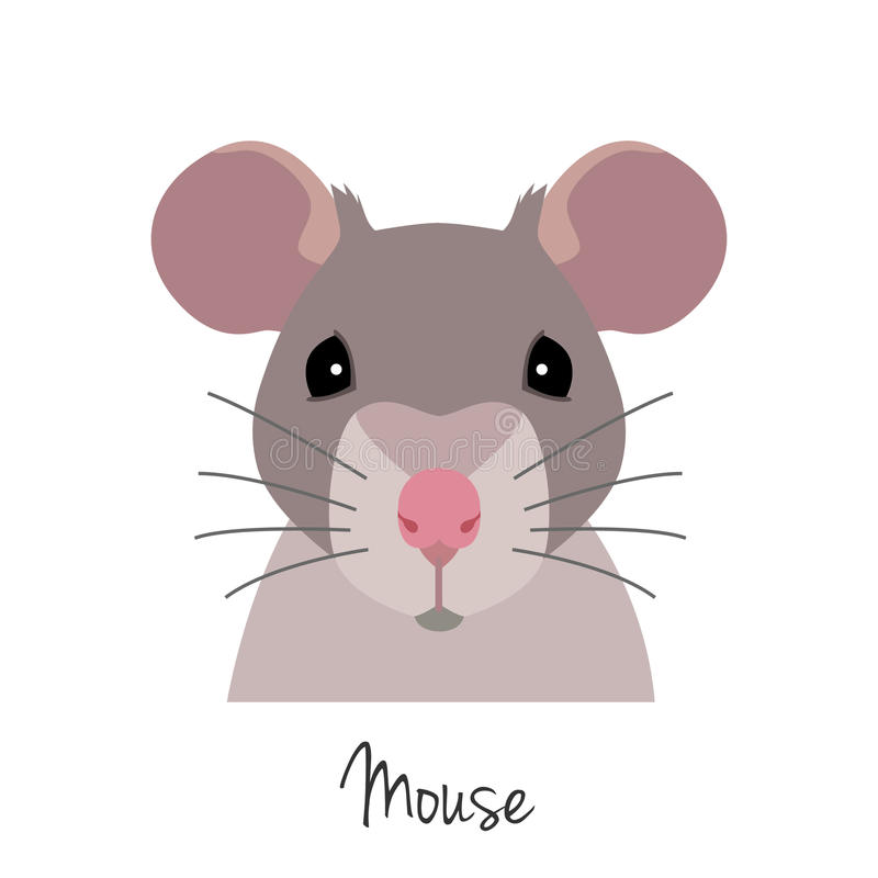 Vector Rat Head Animal Of Chinese Zodiac Symbol Flat Cartoon Stock