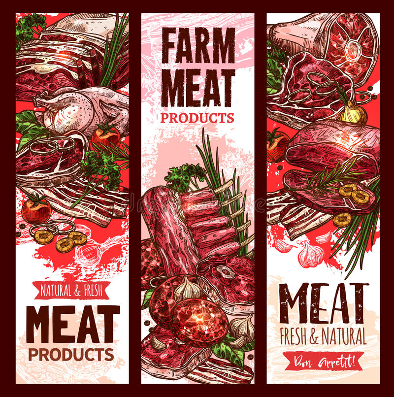 Vector raw fresh farm meat banners for butchery stock illustration