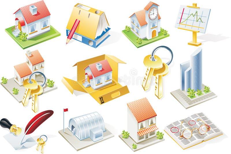 Vector real estate icon set stock illustration