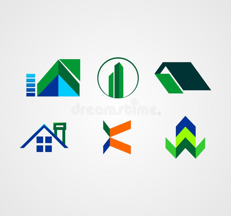 Vector of Real Estate Logo Collection Full. Is an Elegant and Awesome Logo Desin Concept for Company or Business Logo Design stock illustration