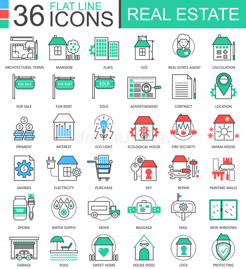 Vector Real estates modern color flat line outline icons for apps and web design. Real estate icons. stock illustration