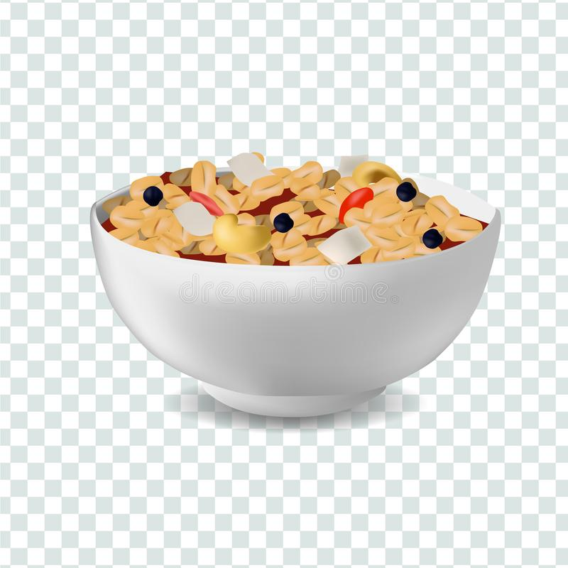 Vector realism style illustration muesli in bowl. Vector realism illustration design template with muesli in bowl. Diet and healthy lifestyle concept stock illustration