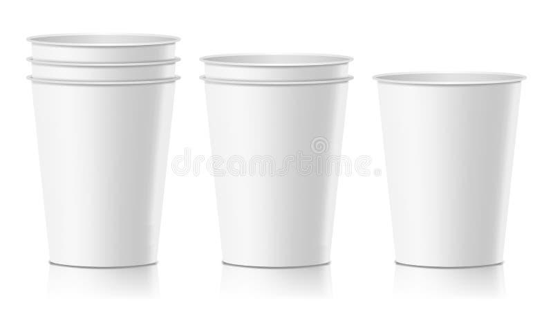 Vector realista de la taza de papel Latte del café, moca, mofa de la taza del capuchino para arriba Ilustración aislada libre illustration