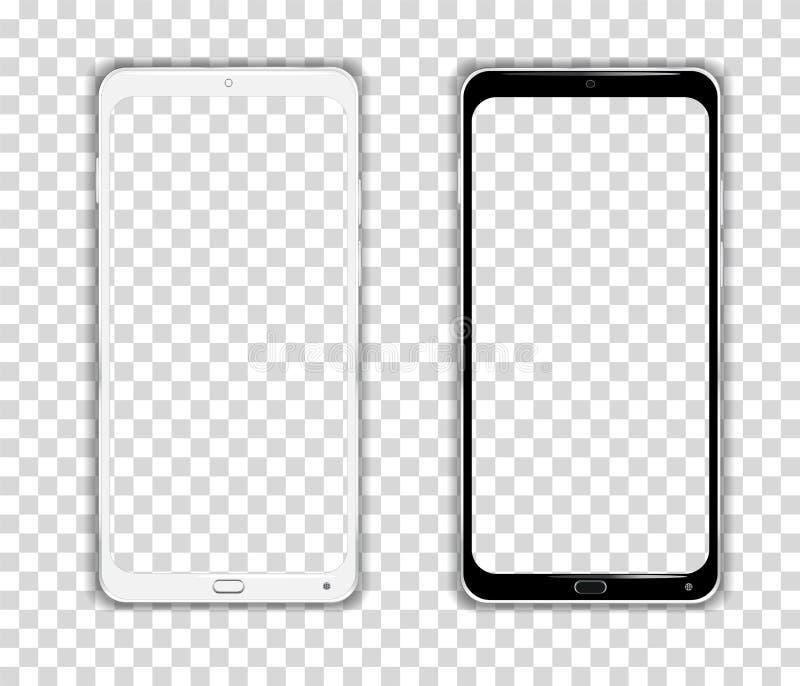 Vector realista de Smartphone del teléfono móvil del dispositivo del marco del teléfono de Android de la pantalla táctil stock de ilustración