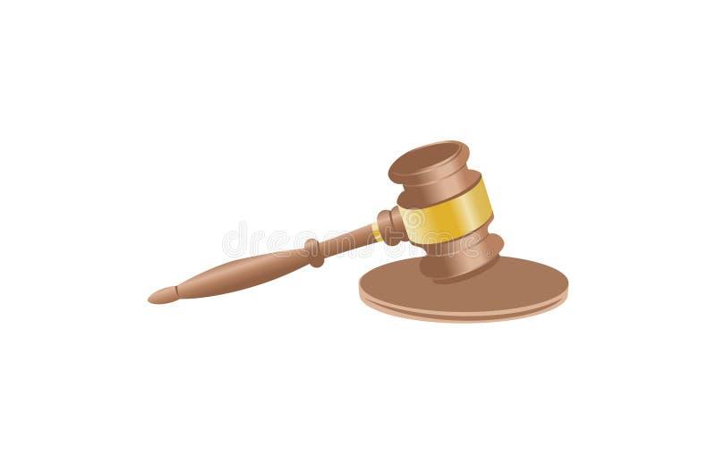 Vector realista del diseño de la justicia del martillo libre illustration