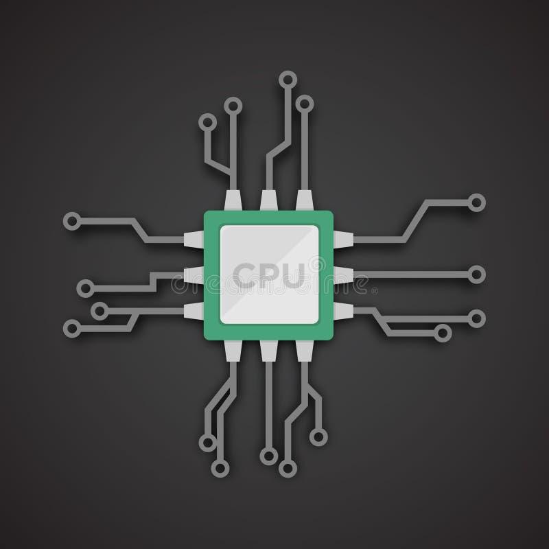 Vector realista del microchip CPU, unidad central de proceso, procesador del ordenador ilustración del vector