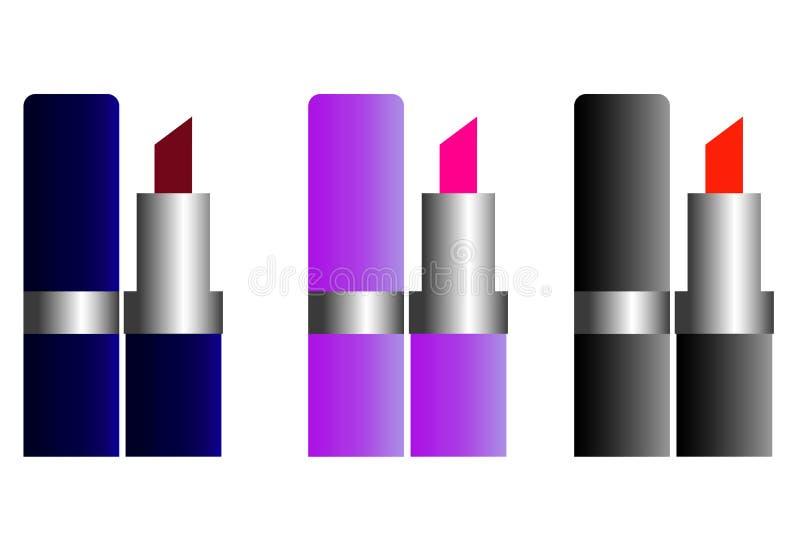 Vector realista del sistema de la barra de labios de la web Tubos del negro, del oro y de la plata libre illustration