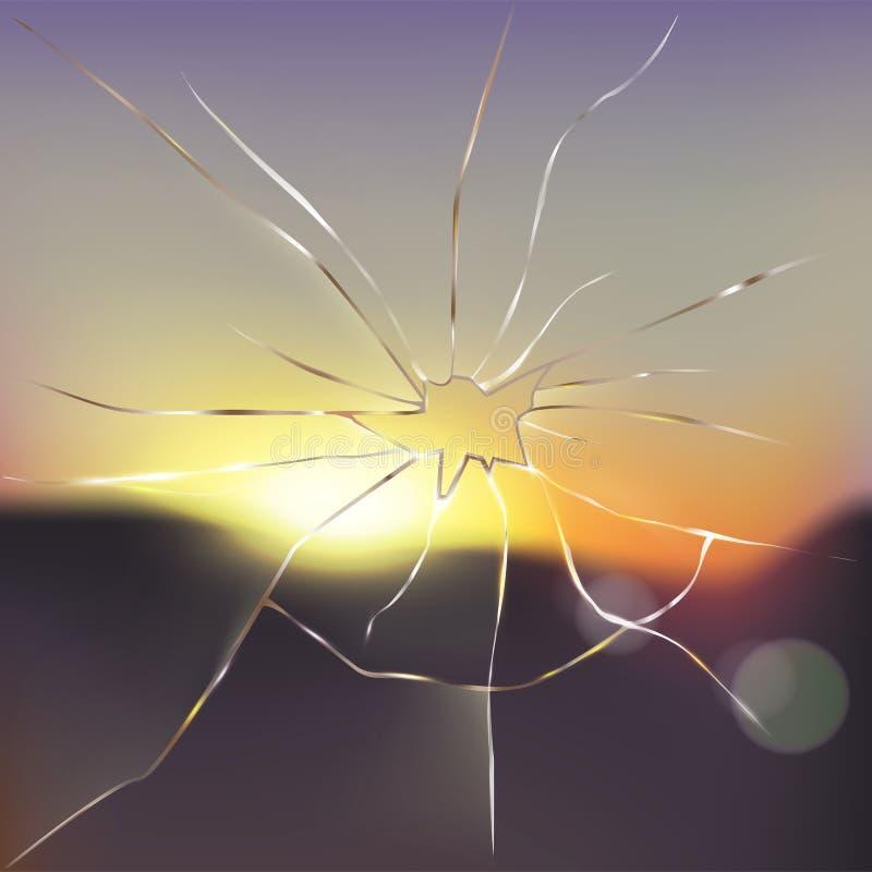 Vector realista del vidrio de la ventana quebrado y agrietado libre illustration