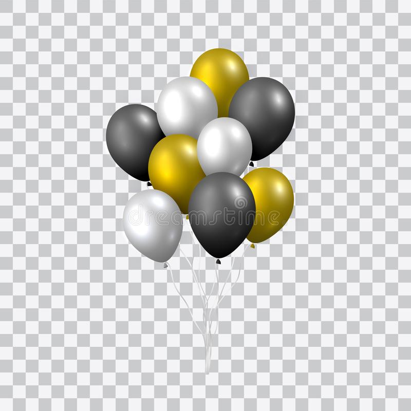 Vector realista hermoso con un paquete de globos de oro, de plata y negros del partido que vuelan en fondo transparente libre illustration
