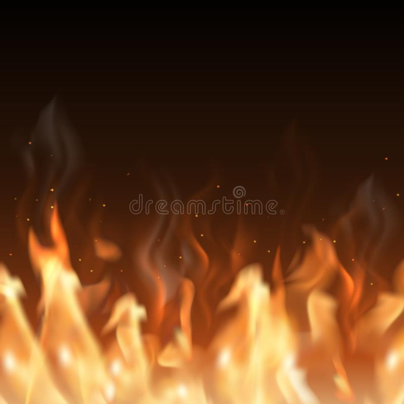 Vector realistic big fire border on dark background with space f. Or your text stock illustration