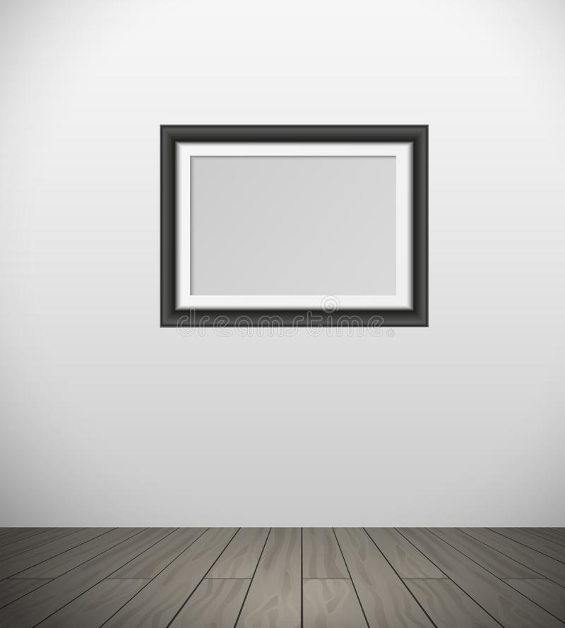 Vector realistic black frame for your picture hanging on wall in room with parquet floor vector illustration