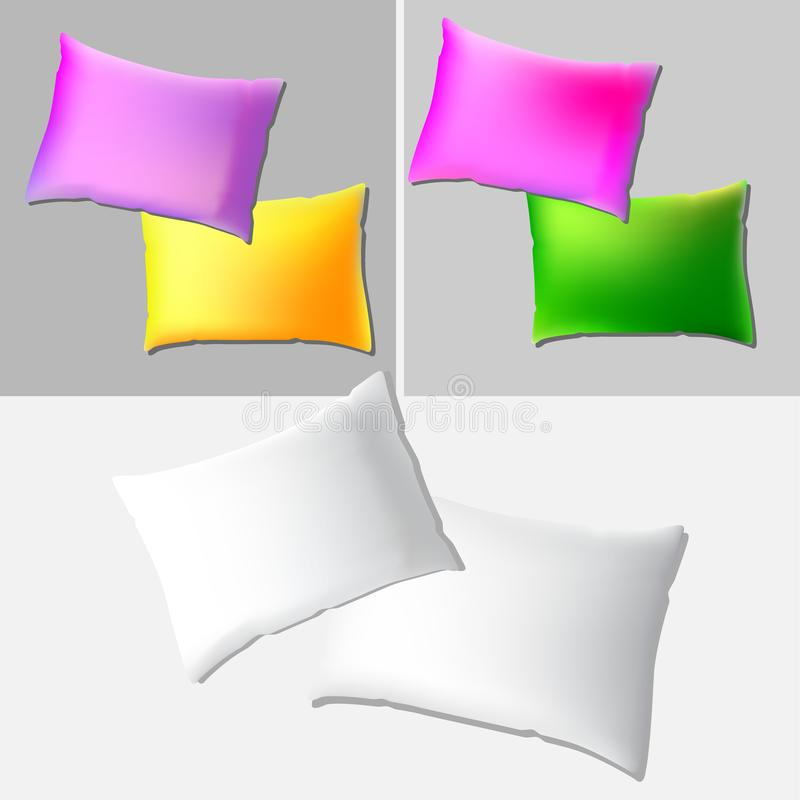 Vector realistic blank white rectangular pillow or cushion icon set isolated grey background. Design template in EPS10 royalty free illustration