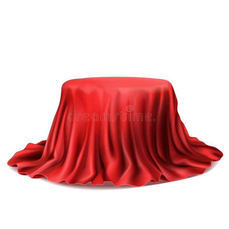 Vector realistic box covered with red silk cloth. Vector realistic stand covered with red silk cloth isolated on white background. Empty podium with tablecloth stock illustration