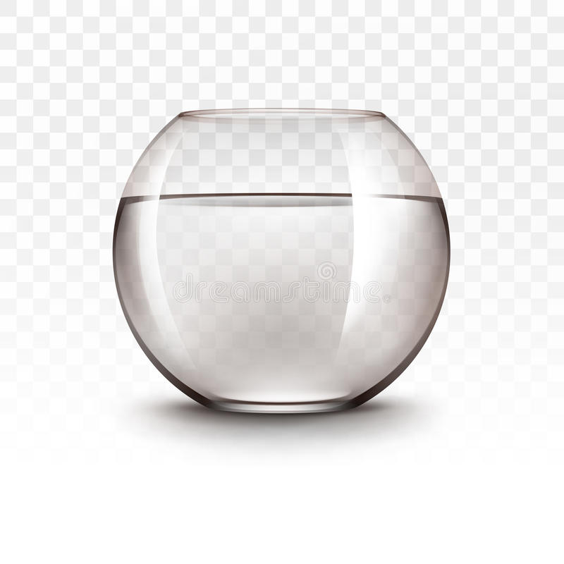 Vector Realistic Brown Transparent Shiny Glass Fishbowl Aquarium with Water without Fish on White Background royalty free illustration